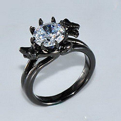 - jacob alex ring Fashion Ring Size6 White Couple Snack Women's 10Kt Black Gold Filled Wedding
