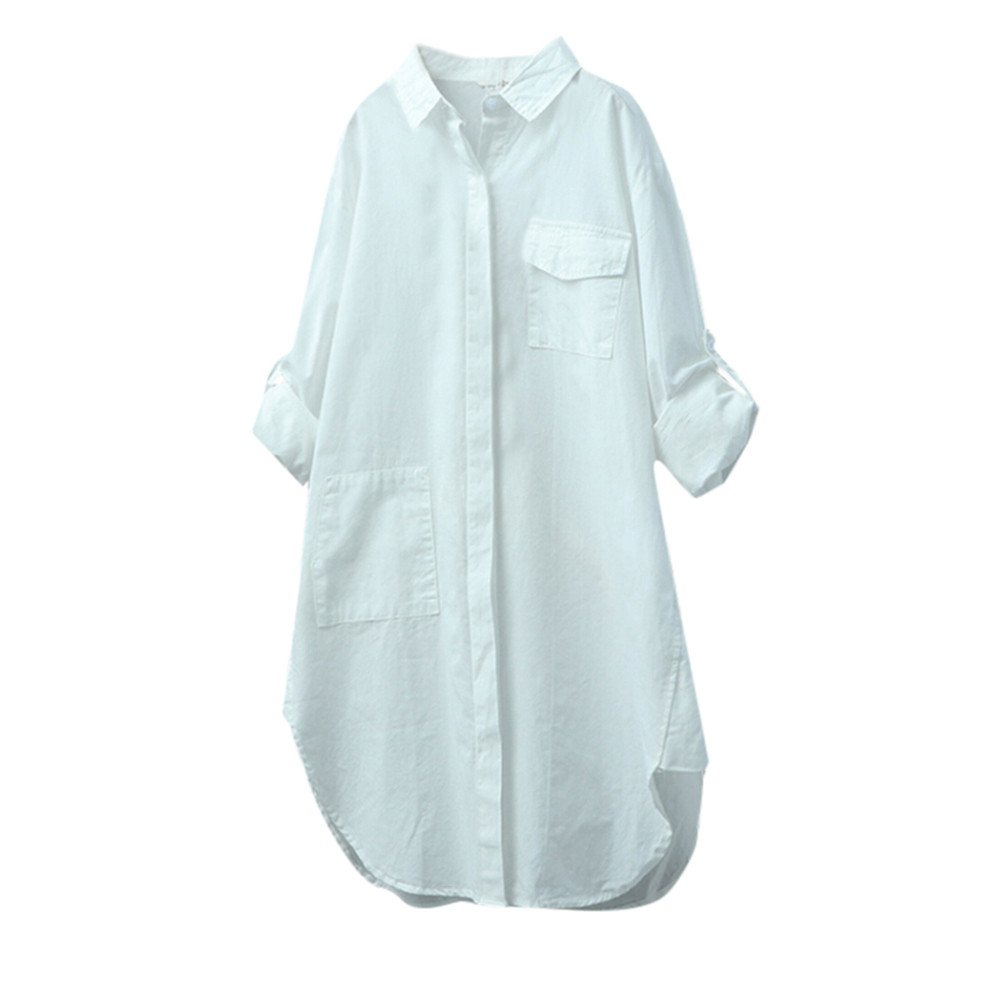 Blouse For Women-Clearance Sale, Farjing Casual Solid Long Sleeve Shirt Button Down Tops Blouse (US:10/XL,White)