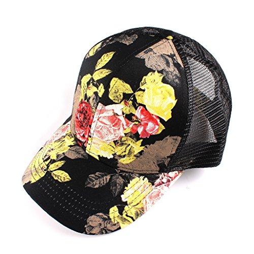 H-6140-73306 Floral Trucker Hat - Roses (Black)