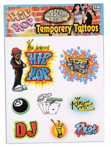 Hip Hop Costume For Guys (Hip Hop Tattoos - Guys (Pack of 12))