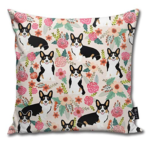 (Corgi Black and Tan Tri Colored Welsh Cardigan Corgi Fabric Cute Corgi Design Decorative Throw Pillow Case Cushion Cover 18 X 18 Inches)