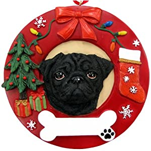 Pug Christmas Ornament Black Wreath Shaped Easily Personalized Holiday Decoration Unique Pug Lover Gifts 107
