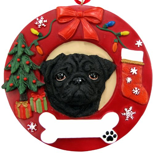 (Pug Christmas Ornament Black Wreath Shaped Easily Personalized Holiday Decoration Unique Pug Lover Gifts)