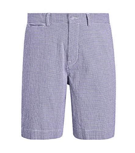 Polo Ralph Lauren Men's Seersucker Check Flat Shorts 34 Blue/White