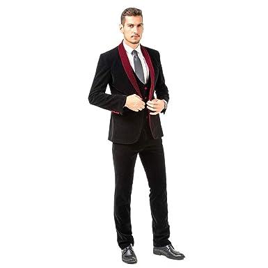 5cf869da0a9e Image Unavailable. Image not available for. Color: Mens 3 Pieces Men Suit  Set Slim Fit Black ...