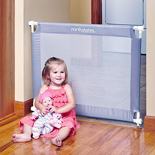 "Toddleroo by North States 42.6"" wide Portable Traveler Baby Gate: Easy to install and folds up to fit in included travel bag. Pressure Mount. Fits 25.2"" - 42.6"" wide. (28"" tall, Light Gray)"