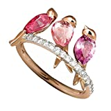 SMALLE ◕‿◕ Men and Women Animal Jewels 3 Birds Inlaid Ruby Electroplated Rose Gold