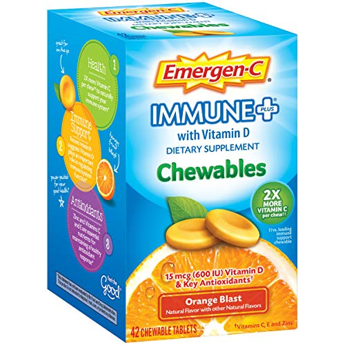 Emergen-C Immune+ Chewables (42 Count, Orange Blast Flavor) Immune System Support Dietary Supplement Tablet With 600 IU Vitamin D, 1000mg Vitamin C ()