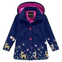 Wantdo Girls and Boys Hooded Rain Jacket Windproof Fleece Raincoat