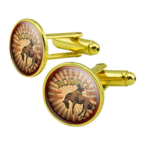 GRAPHICS & MORE Rodeo Cowboy Vintage Horse Riding Bucking Round Cufflink Set Gold Color