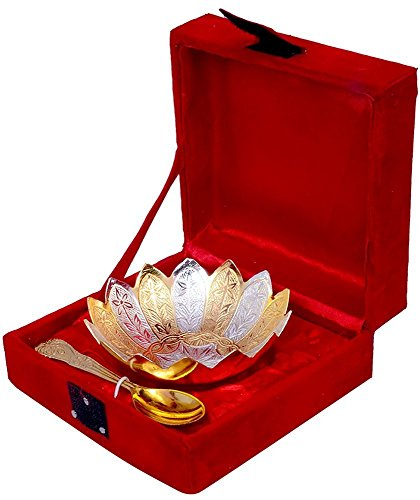 (GoldGiftIdeas 4 Inch Lotus Gold and Silver Plated Bowl Set, Serving Bowl Set)