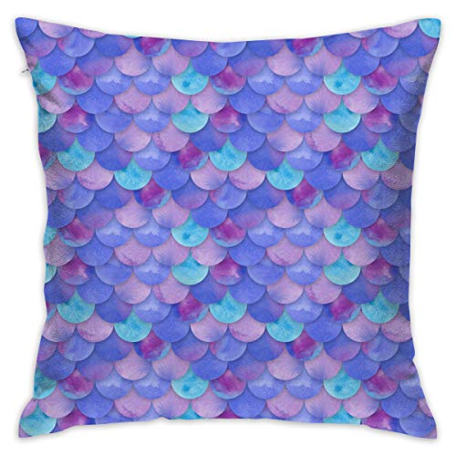 Supersoft Throw Pillow Covers Home Concealed Zipper Cushion Cover Mermaid Fish Scales Purple Wrinkle Resistant Pillow Cases for Birthday Couch Bench Chair Outdoor Patio (Madrid Cover Patio)