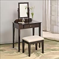 Iris Vanity & Stool Make Up Table Set in Espresso