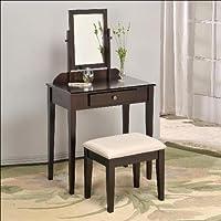 Iris Vanity & Stool Make Up Table Set in Espresso