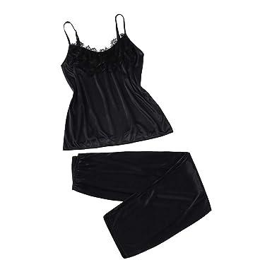 2Pcs Ladies Sexy Satin Silk Sleepwear Babydoll Lingerie Nightdress Pyjamas  Suit Black bd435c8f0