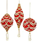 Kurt Adler RED VELOUR WITH RED, GOLD & WHITE ACCENTS AND TRIM BALL, ONION AND FINIAL ORNAMENT - 3 ASSORTED