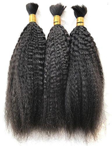 (FDshine Italian Yaki Brazilian Braiding Hair Coarse Kinky Straight Hair Bulk for Braiding Human Hair Natural Black Pack of 3 (20