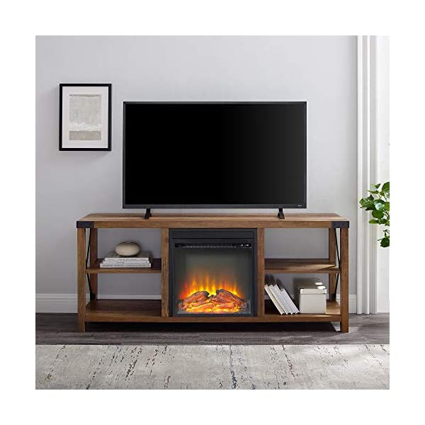 Walker Edison Faye Modern Farmhouse Metal X Fireplace TV Stand for TVs up to 65 Inches, 60 Inch, Rustic Oak