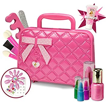 Amazon Com Kids Washable Makeup Set With A Glitter Cosmetic Bag