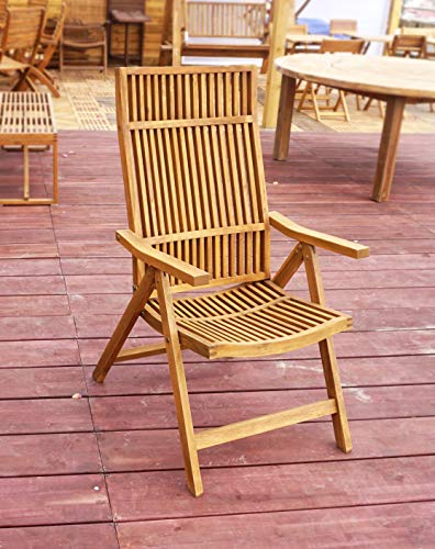 Interbuild Stockholm 5-Position Deck Chair Outdoor Patio Adjustable Chair Includes 1 Chair
