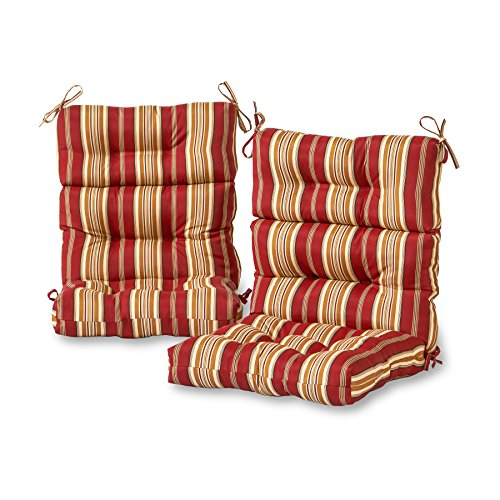 Greendale Home Fashions Outdoor High Back Chair Cushion (set of 2), Roma Stripe ()