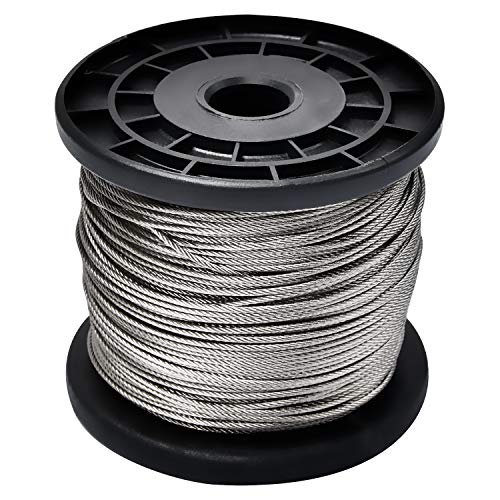 1/16 Wire Rope,Stainless Steel 304 Wire Cable,7x7 Strand Core,328FT Length Cable,368 lbs Breaking Strength ()