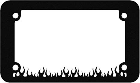 Black Large Flame Fire Fighter Motorcycle License Plate Frame 1 Piece