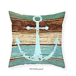 VROSELV Custom Cotton Linen Pillowcase Nautical Decor Anchor Rustic Wooden Planks Marine Maritime Sea Ocean Coastal Antiqued Aged Decor Digital Print Fashion Art Work for Bedroom Living Room 12x12