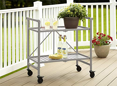 Cosco Indoor/Outdoor Serving Cart, Folding, Silver from Cosco Outdoor Living