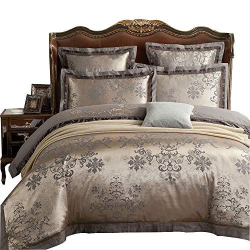 MKXI Duvet Cover Set Floral Embroidery Sateen Cotton Vintage King Size Bedding Set (Duvet Covers Victorian)