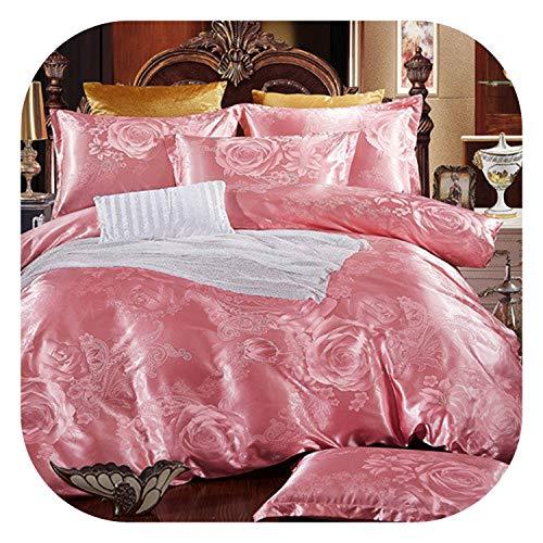 meiguiyuan 2019 Home Bedding Set Jacquard Duvet Cover Set Dark Golden 4pcs/Set Bed Linen Luxurious Bedclothes Queen Size Adult Bed Set,Dream yuse,200 by 230,Flat Bed Sheet ()