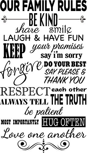 Newclew Our family rules, be kind, share smile, laugh & have fun. Removable vinyl wall art Inspirational encouragement poetry quotes and saying home decor decal sticker ...