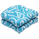 Cheap Pillow Perfect Outdoor Best Wicker Seat Cushion, Turquoise, Set of 2