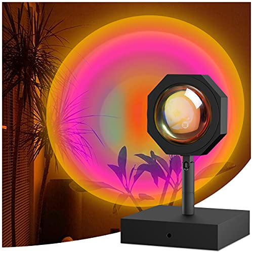 Sunset Lamp Projector, NetCan Sunset Light 180 Degree Rotation Projection Led Night Light Projector for Bedroom Home Party, USB Charging (Rainbow)