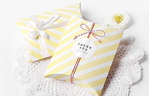 (AimtoHome Pillow Candy Box Yellow White Stripes Pillow Style Design for Wedding Baby Shower Birthday Party Supplies Favor Box Party Favors Pack of 50)