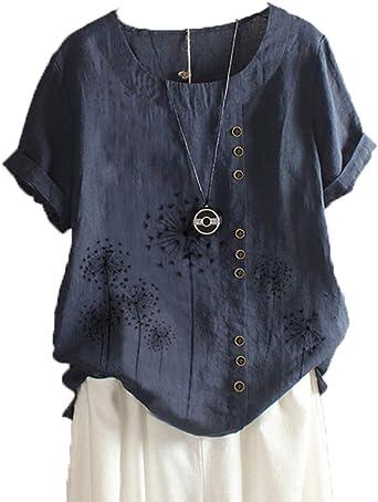 Nueva Camiseta Estampada Casual De AlgodóN Y Lino De Manga Corta para Mujer De Verano: Amazon.es: Ropa y accesorios