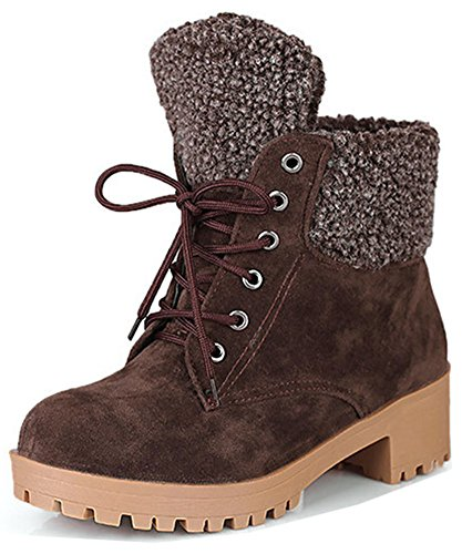 Suede Women's Chunky Boots Brown Ankle Round Chic Martin Easemax Up Heeled Mid Faux Lace Short Toe FZ06g6zA
