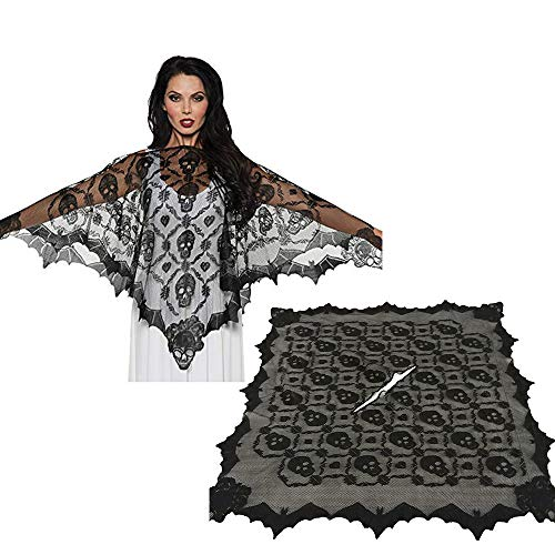 (❤️MChoice❤️Halloween Skeleton Lace Woven Poncho Comfortable Light Weight Sheer Fabric)