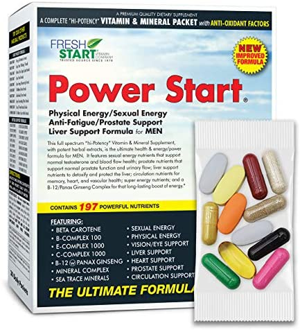 Power Start – Complete Daily Vitamin Packet Premium Multivitamin Supplement for Men with Antioxidants Physical and Sexual Energy Anti-Fatigue Liver Prostate Support 30-Day Supply