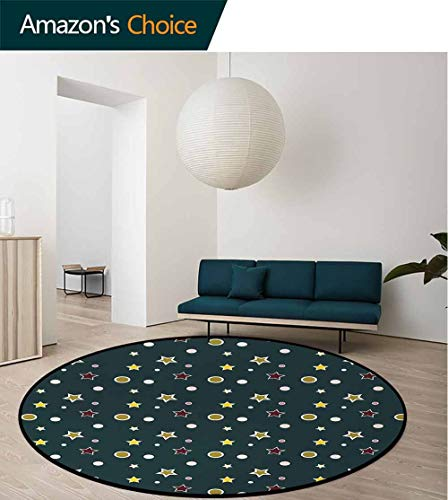 DESPKON-HOME Forest Green Art Deco Pattern Non-Slip Backing Round Area Rug,Stars and Snowflakes Merry Christmas Pattern with Traditional Festive Icons Study Super Soft Carpet Round-59 Inch,Multicolor (Star Rugs Snow)