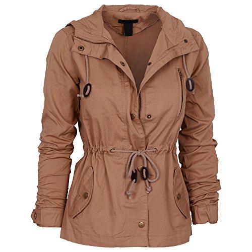Womens Fashion Lightweight Button Down Hoodie Safari Jacket Camel 2X