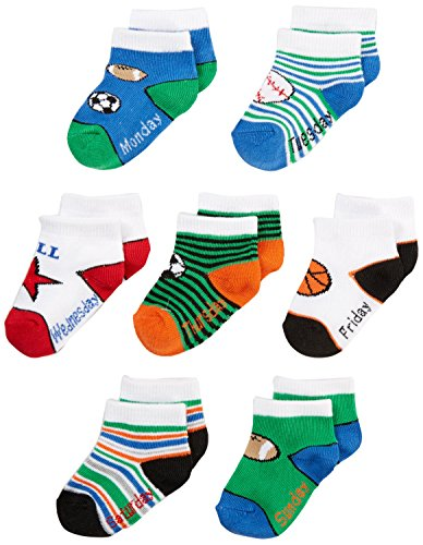 NUBY Baby Boy Infant 7-Pack Super Soft Socks, Day of the ...