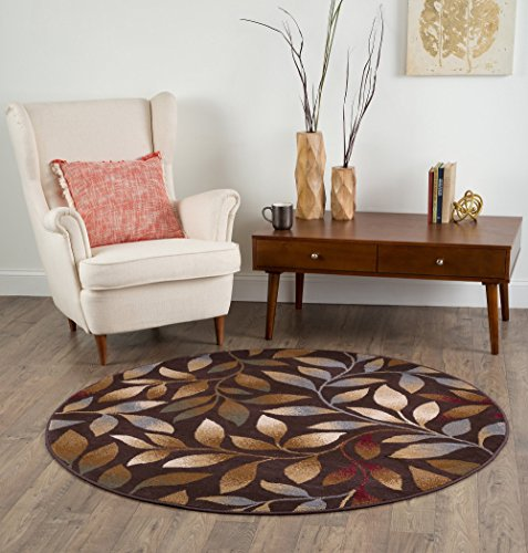 Katniss Transitional Floral Brown Round Area Rug, 8' Round Brown Transitional Area Rug