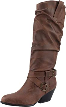 Hot Sale Women/'s Fashion Low Heel Buckle Slouch Cowboy Mid-Calf Ankle Boot Shoes