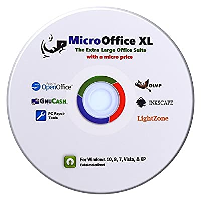 Micro-Office-XL 2016 office suite CD compatible with Microsoft Office and other leading software programs. Office Suite, Photo Editor, Vector Program, Accounting Software, Computer Repair Guide