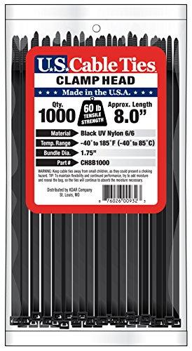 [해외]미국 케이블 타이 CH8B1000 8 인치 클램프 헤드 타이, UV 검정, 1000 팩/US Cable Ties CH8B1000 8-Inch Clamp Head Ties, UV Black, 1000-Pack