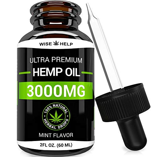 Hemp Oil Drops 3000 MG - Made in USA - Premium Hemp Extract - Optimum Absorption & BIOAvailability - Pain, Anxiety & Stress Relief - Natural Hemp Oil for Sleep & Mood Support - Omega 3 - Mint Flavor