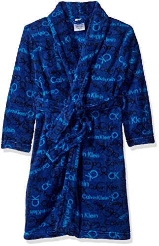 Calvin Klein Big Boys' Logo Printed Plush Robe, Blue, 7/8 (Boys Calvin Klein Robe)