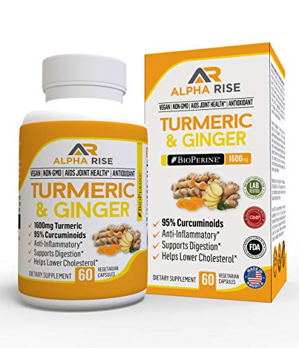 - Turmeric Ginger Capsules by Alpha Rise - Joint Pain Relief Anti-Inflammatory Supplement - 1600mg Curcumin Root Extract with 20mg Bioperine Black Pepper for Maximum Effect - 60 Veg Powder Caps