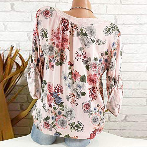 V Chic Pull Manches Plus Mode Simple Femmes Rose Longues Taille Lache Manches Casual Chemise Longues Femme Tops Florale Tops Col Shirt Chemise Sweat La q0YvvS
